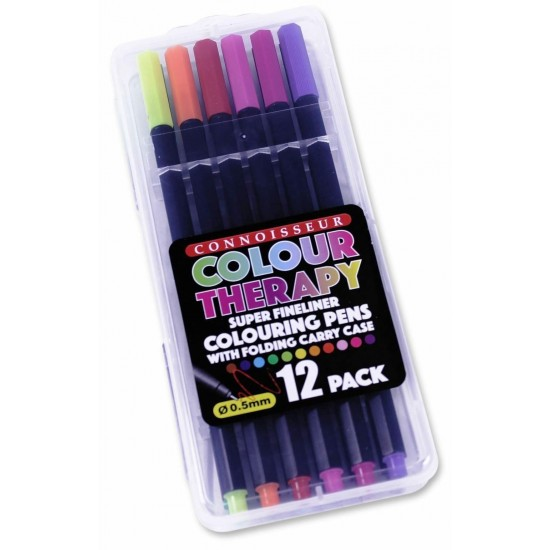 Colour Therapy 12-piece Super Fineliner Pens in Folding Carry Case (24ct) RRP £2.99